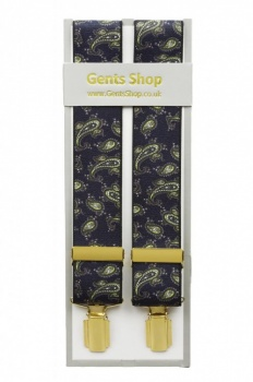 Dark Navy Blue Paisley Trouser Braces